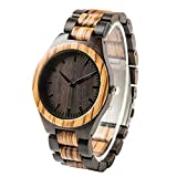 Holzmaserung Watch Ebenholz & Zebra Holz Armbanduhr - Geschenk für Vater Dad Ehemann Freund Geburtstagsgeschenk für Männer