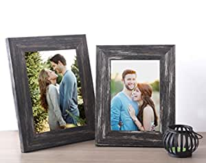 Art Street - Set of 2 Black Distressed Table photo frame (Mix Size) 5X7,6X8