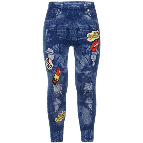 Jeggings Leggings Mädchen Jeans-Optik Leggins Schule Skate Stech-Hose Lang 21797, Farbe:Blau, Größe:116