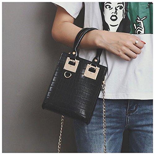 Tasche von Stein der Frau der Handtasche der Frau der Tasche quadratisch klein Tasche des Boten schwarz