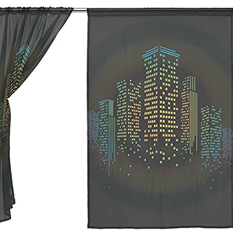 jstel 2Pcs Voile Fenster Vorhang, Night City Bling Light, Tüll Sheer Vorhang Tuch Querbehang 139,7x 198,1cm Zwei scheibenelementen Set, Polyester, blau, 55x84x2(in)