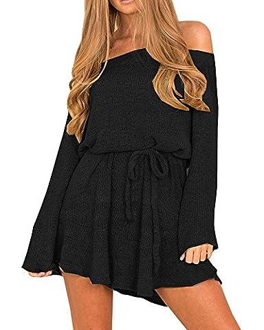 Zhaoyun Automne Femmes hors épaule Tricoter gris à manches longue Jumper Mini pull robe Noir-XL