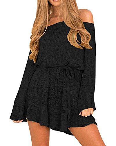 Zhaoyun Damen Sexy aus Schulter lange Ärmel Pulli Strick Gürtel Mini Pullover Kleid Schwarz-S (Kleid Eine Schwarzes Kleines Schulter)