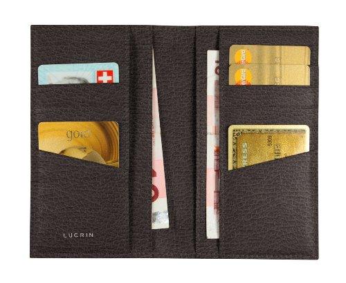 Lucrin - Astuccio per 12 carte di credito, verticale - Pelle Ruvida Marrone