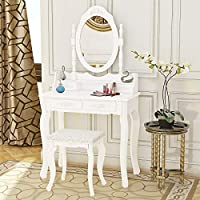 PALDIN White Dressing Table, Modern Makeup Table 4-Drawer Vanity Dresser Set With Stool & Oval Mirror Bedroom Dresser, Size: h 136cm x w 75cm x d 40cm.