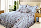 DaDa Bedding DXJ103112 Blossoming Cotton Patchwork 5-Piece Quilt Set, King, Ivory