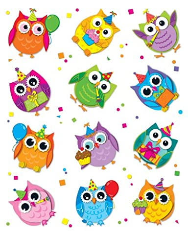 Celebrate With Colorful Owls Shape Stickers