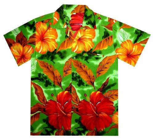 Funky Hawaiihemd, Big Flower, grün, S