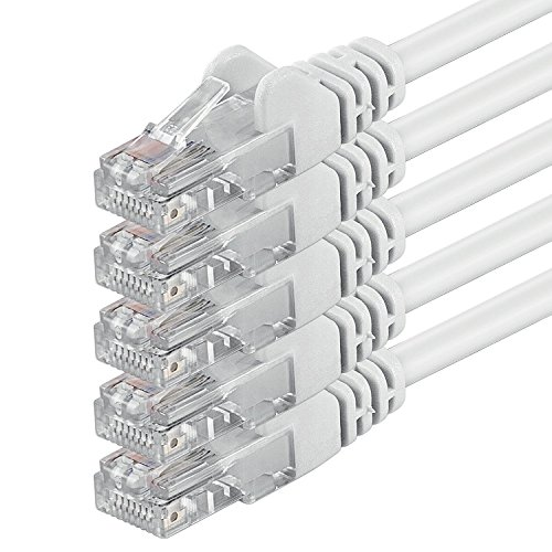0,25m - weiß - 5 Stück - (PACK) - CAT6 CAT6 Ethernet Lan Netzwerkkabel RJ45 | 10 / 100 / 1000 / Mbit/s | Patchkabel | CAT 6 | 250 MHz | Halogenfrei | kompatibel zu CAT 5 / CAT 6a / CAT 7 | für Internet, DSL, Smart TV, Xbox, Mediaplayer, Switch, Router, Modem, Patchpannel, Access Point, Patchfelder