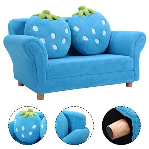 Kindersofa Kindersessel Doppelsofa Softsofa Spielsofa Kindermöbel Kindercouch Sofa Babysessel mit 2 Kissen (Blau)