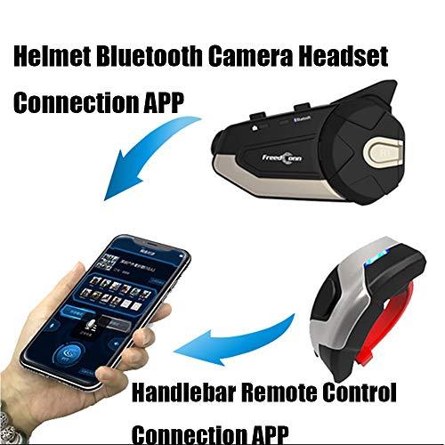 PN&KK Fotocamera Auricolare Casco del Motociclo, la Telecamera di Rete HD 1080P WiFi App citofono tachigrafo con Manubrio remoto per motocicli motoslitte ATV