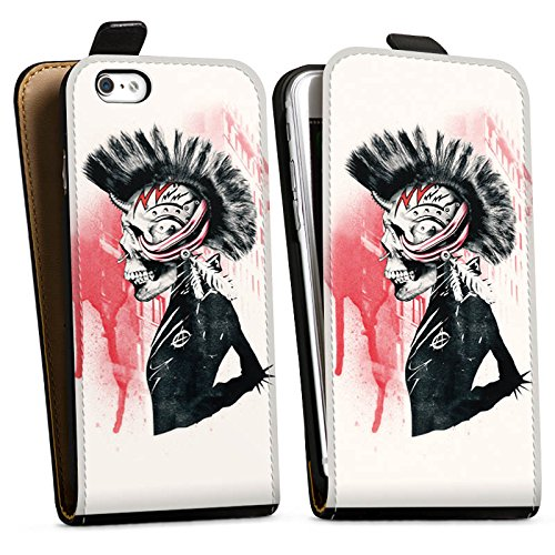 Apple iPhone X Silikon Hülle Case Schutzhülle Punk Totenkopf Skull Downflip Tasche schwarz