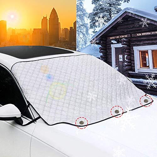 VIUME Frontscheibenabdeckung Auto Windschutzscheiben Abdeckung Magnet Scheibenabdeckung Faltbare Autoabdeckung Winter Scheibe Abdeckung gegen UV-Strahlung Schnee EIS Frost und Sonne(147cm*116cm)