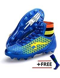 BOLOG talla 33-45 Zapatillas de fútbol para niños AG Zapatillas de microfibra de Spike Zapatillas de deporte de atletismo profesional (zapatos de fútbol con calcetines)