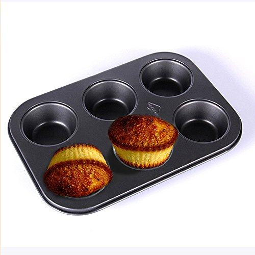 PINDIA-Aluminium-Steel-6-cups-Non-Stick-Baking-Pan-Bakeware-moulds-for-Muffins-Cupcake-desserts-pastries-tarts-pie-dishwasher-safe