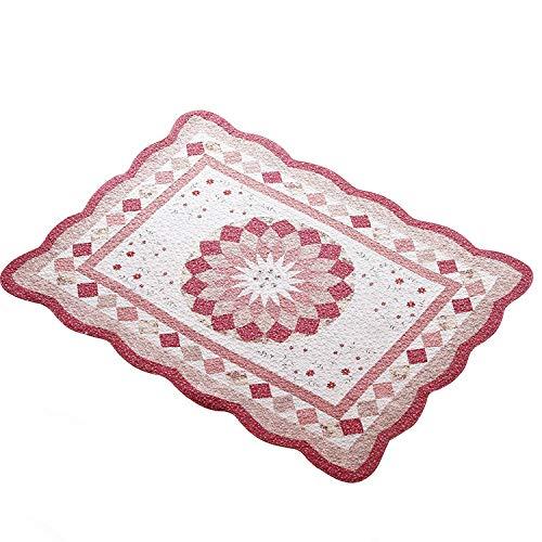 SBL Nähen Hand Gesteppte Baumwollmatte, Rutschfeste Wohnzimmer Stoff Garten Schlafzimmer Matte Eingangstür Matte Maschinenwäsche,Rosa,160 * 210cm