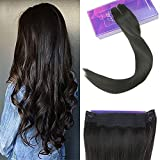 LaaVoo 14 zoll Flip on Human Hair Extensions Echthaar Naturlich Schwarz #1B Halo Hair Extensions One Piece Mit Secret Wire Unsichtbar 80Gramm/Stuck
