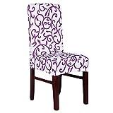 6Stk Honeyhome Hochzeit Universale Stretchhusse fuer Stuhl aus elastische Spandex fuer eckige Stuhllehnen weiss+lila