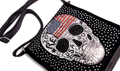 Handtasche Skull Amerika Flagge Schwarz