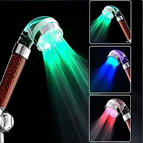 LED Handheld Shower Head, High Pressure Negative Ionic Filter Chlorine Spa Spray Sprinkler Bathroom Bathing Accessories Temperature Sensor Automatic RGB 3 Colors Change