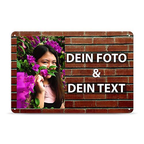 Tassendruck Blech-Schild mit Foto und Text selbst gestalten/Personalisierbar mit eigenem Bild als Metall-Poster / A4 (21x30cm) im Querformat/Ziegel 2 (2x2-metall-ziegel -)
