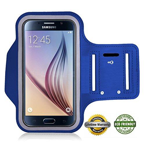 Preisvergleich Produktbild Act Wasserfestes Sport-Armband -LEBENSLANGE GEWÄHRLEISTUNG - Mit Schlüsselhalter, Kabelfach, Kartenhalter für iPhone 7/6/6S,Galaxy S6/S5/S4,iPhone 5/5C/5S bis 5.1 Inch (blau 6 / 6s)