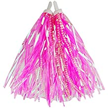 Kids Scooter & Bike Handlebar Streamers with Beads/Trike Handgrip Colorful Ribbons/Bicycle Grips Sparkle Tassel Ribbon /Baby Carrier Accessories (Pink)