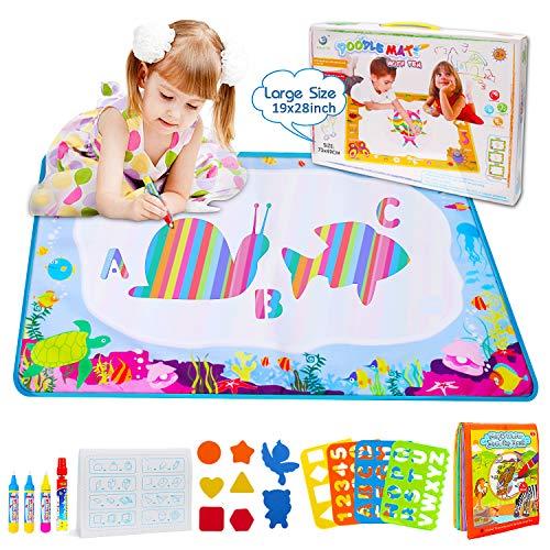 Wasser Doodle Matte, BBLIKE 73 * 49cm Wasser Zeichnen Matte Gekritzel und 1 Farbton-Bücher mit 4 malmatte mit wasserstift, verwendbar 3+ Jahre alte Kleinkinder