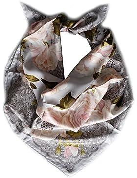 Foulard quadrato 90cm x 90cm, twill di 100% seta, colore grigio, Pesca, cachi.