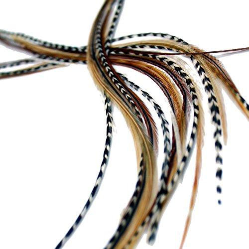XXL long 27,9–33 cm (28–33 cm) Extensions capillaires en plumes véritables X7 + Anneaux et boucle