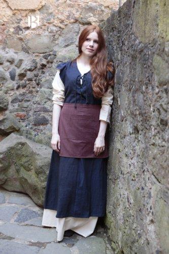 Robe médiévale avec tablier manches courtes coton pour dame bleu Multicolore