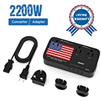 DOACE 2200W Power Converter for Hair Dryer Straightener Curling Iron, 220V to 110V Voltage Converter, 10A Universal Travel Adapter with 4-Port USB US/AU/EU/UK Plug for Cell Phone Laptop Tablet
