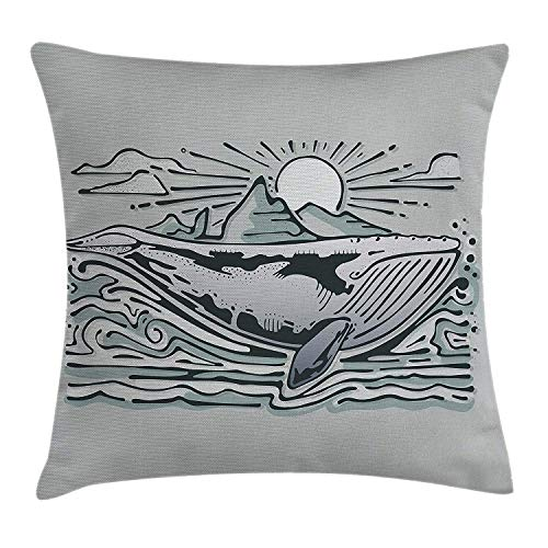 Whale Throw Pillow Cushion Cover, Whale in The Sea Swimming Under Sun Clouds Mountain Nature Illustration, Decorative Square Accent Pillow Case, 18 X 18 Inches, Almond Green Slate Blue