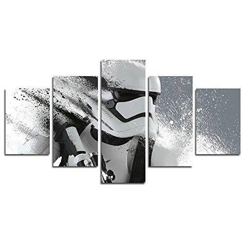 YspgArt66 Print Canvas, 5-Teilig Stormtrooper Star Wars Film Leinwand Art Wand Gemälde für Home Wohnzimmer Büro Trendig eingerichtet Dekoration Geschenk (ungerahmt)... (Wandbild Star Wars)