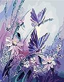 Malen nach Zahlen, DIY Ölgemälde Lila Schmetterlinge mit Blumen Leinwand drucken Wandkunst Haus Dekoration Ohne Rahmen durch Rihe