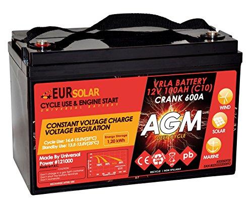 Batteria AGM 100Ah C10, 110Ah C20 - 12V Doppio Uso Servizi ed Avviamento con corrente di avviamento 600A
