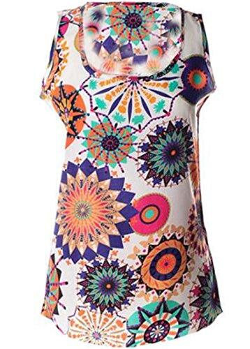 Gogofuture Donna Bonitas Canotta Senza Maniche T-Shirt Stampa Floreale Classico Maglietta Tops Camicetta Camicie Girocollo Casual in Chiffon Colorful5