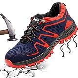 XIAO LONG Damen Herren Sicherheitsschuhe Arbeitsschuhe Atmungsaktiv Stahlkappe Schutzschuhe Traillaufschuhe für Sommer,Rot1,42