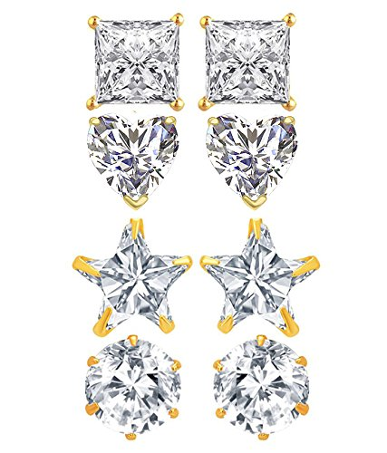YouBella Jewellery Combo of 4 Gold Plated Stylish Fancy Party Wear Earrings for Girls and Women