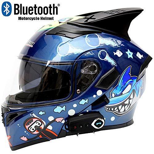 CAKUI Haifisch-Neuer Motorrad-Bluetooth-Helm, kreativer Karikatur-Doppellinsen-Multifunktionsstimme FM-Integralhelm, Punkt zugelassener Sturzhelm,M57~58cm