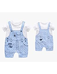 Bébé conjointe été hommes et femmes bébé manches courtes 100% coton denim pull bleu , 59cm