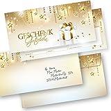 PREMIUM Gutscheine für Weihnachten Stardreams (25 Sets) mit Umschläge einfach Werte eintragen + Stempel, für Firmen