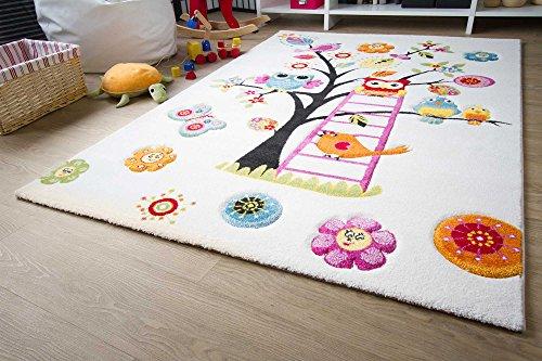 Kinder Teppich Modena Kids Eule - Bunt Öko-Tex zertifizierter Kinderteppich, Größe 100x160 cm