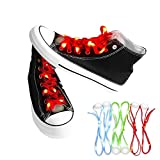 Nubeter (1 pair) LED Shoelaces, LED Shoe laces Lights Up 3 Modes Battery Flashing Light Shoestrings for Christmas Party, Cycling, Dancing, Hiking, Hip-hop, Running, Decorations (Red)