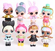8pcs Girl Dolls Set with accessories Mini Doll Figures Baby Toys Surprise Gifts For Children Ideal