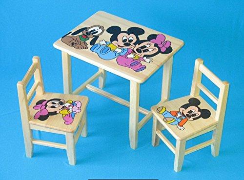 Set in legno tavolino con 2 sedie per cameretta bambini. m4. ottima idea regalo.completo in pino con disegno a mano.