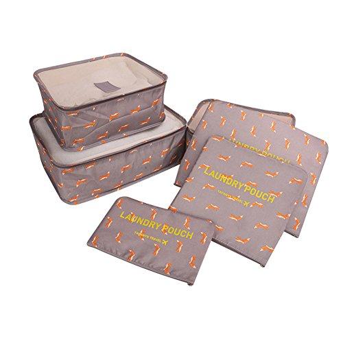 SAVORI Organisateur de Voyage Femme Organisateur de Sac Voyage Organisateur de valise 6 Pièces, je1 Petit moyen, grand et 3 sacs de rangement (Brun)