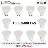 LED dicroica (pack 10 unidades) 5W 110º Blanco frío 6000K GU10 320lm 220V-240v Alta calidad