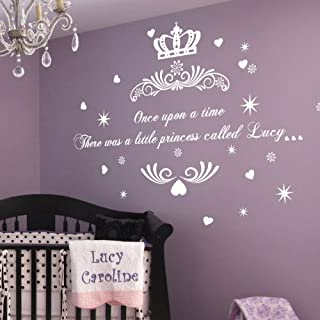 amazing sticker Medium Personalrised Once upon a Time Princess Name Art Wall Quotes/Wall Stickers-Purple