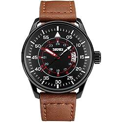 Skmei Herren sk9113b phosphoreszierende Zeiger Tag und Datum Analog Armbanduhr mit Braun Leder Gurt schwarz